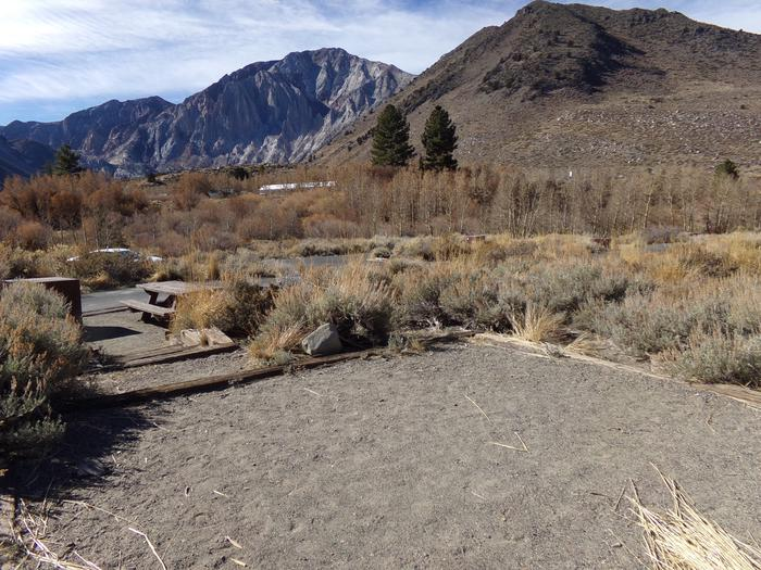 View from raised camping space at site #35, Convict Lake Campground.