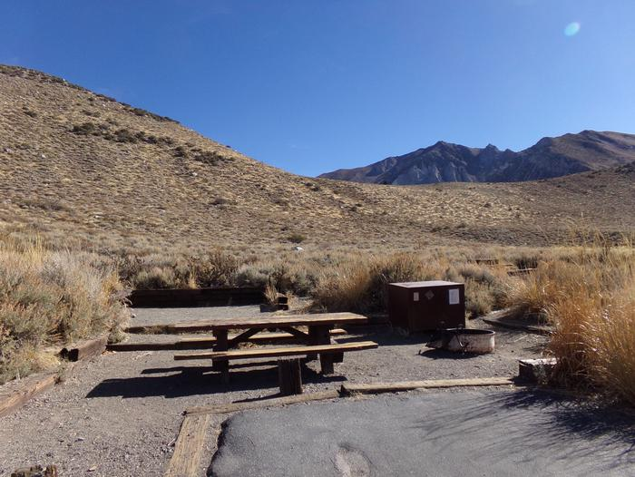 Convict Lake Campground site #37 featuring full campsite view backing up to mountain.Convict Lake Campground site #37 featuring full campsite view backing up to mountain. Picnic table, fire pit, and bear resistant food storage provided. .