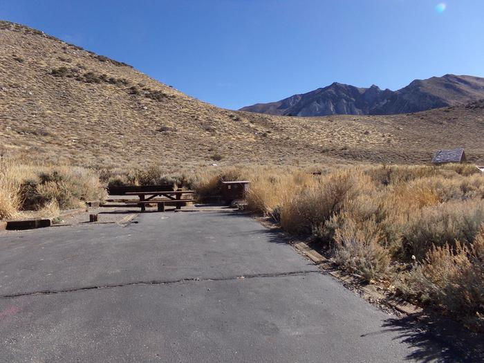 Parking space and entrance to site #37, Convict Lake Campground.
