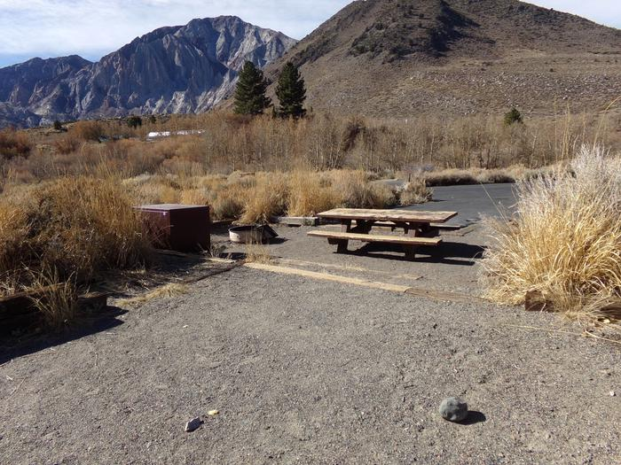 View of campsite #37, Convict Lake Campground, from camping space featuring mountain views.