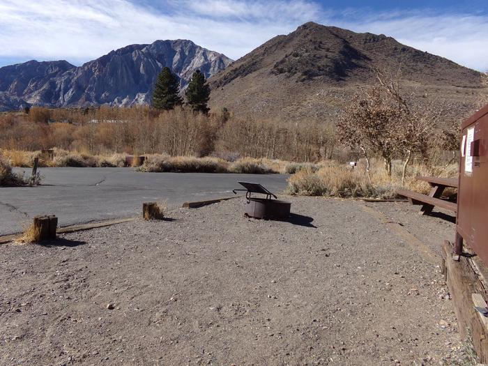 View from campsite #38 featuring entrance to site and mountain views at Convict Lake Campground.