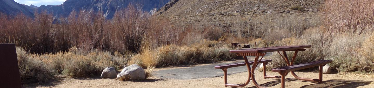 Convict Lake Campground site #43 featuring picnic table and entrance to the campsite with mountain views.