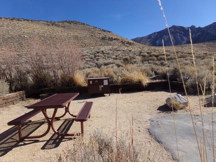 View of camping space and site #43 featuring panoramic mountain views at Convict Lake Campground.