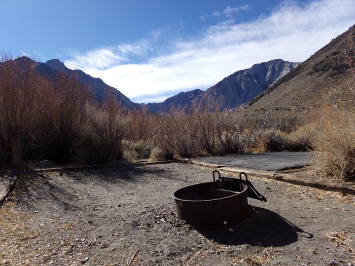 Fire pit and camping space at site #44, Convict Lake Campground.