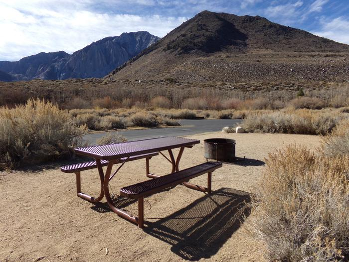 Convict Lake Campground site #48 featuring full campsite view backing up to mountain and panoramic views.
