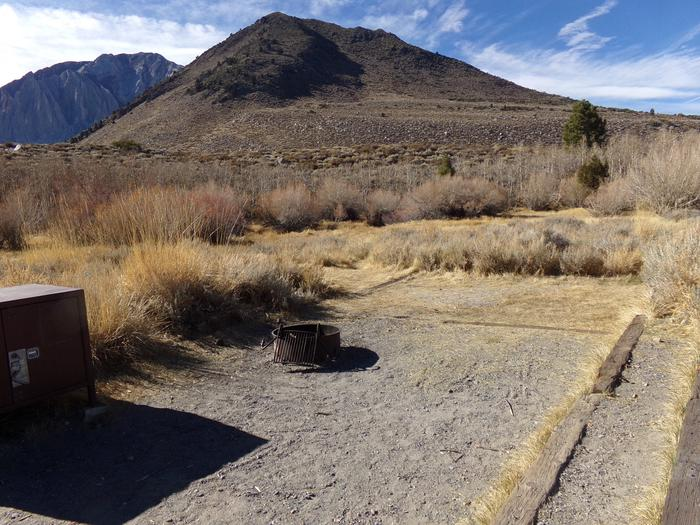 Camping space at site #49 with mountain views at Convict Lake Campground.