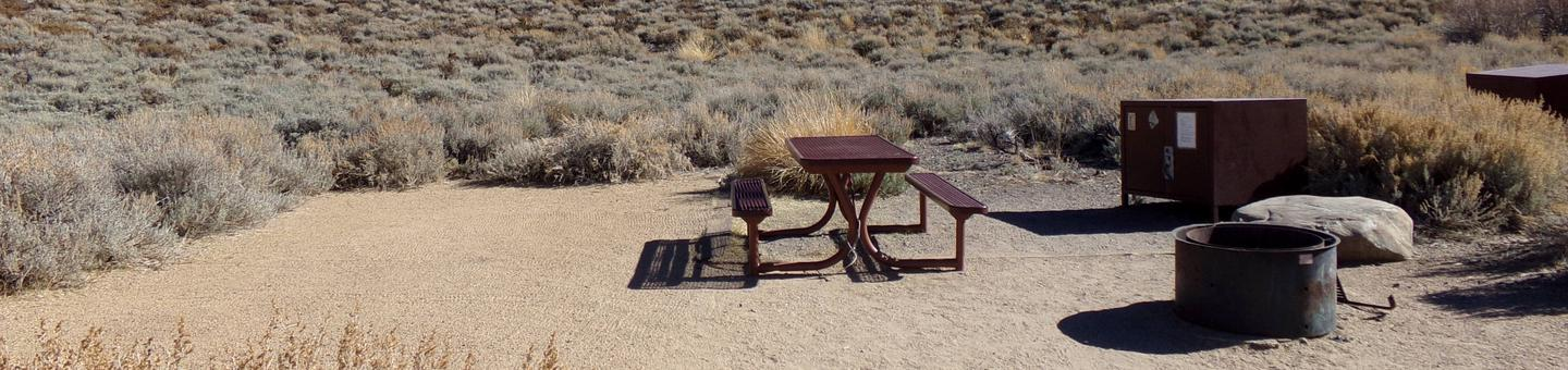 Convict Lake Campground site #50 featuring picnic table, food storage, and fire pit backing up to mountain.
