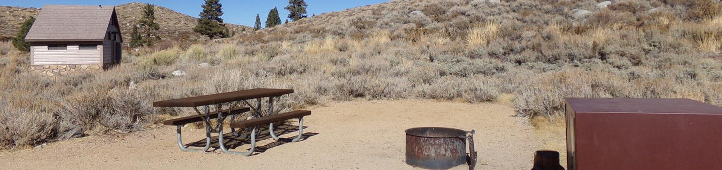 Convict Lake Campground site #51 featuring picnic table, food storage, and fire pit backing up to mountain.