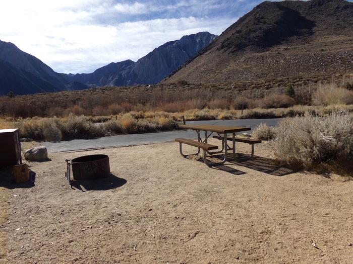 View of entrance and parking for site #51 at Convict Lake Campground. View of entrance and parking for site #51 at Convict Lake Campground. Panoramic mountain views.