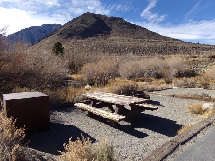 Convict Lake Campground creekside site #53 featuring camping space, picnic table, and food storage.