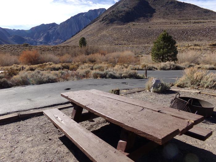 Camping space and entrance to site #55, Convict Lake Campground. Panoramic mountain views. Camping space and entrance to site #55, Convict Lake Campground. Panoramic mountain views.