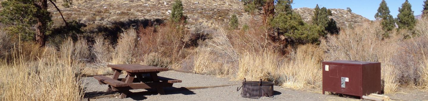 Convict Lake Campground site #58 featuring picnic table, food storage, and fire pit.