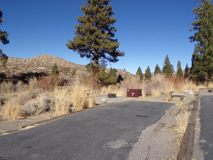Parking space and entrance to site #58, Convict Lake Campground.