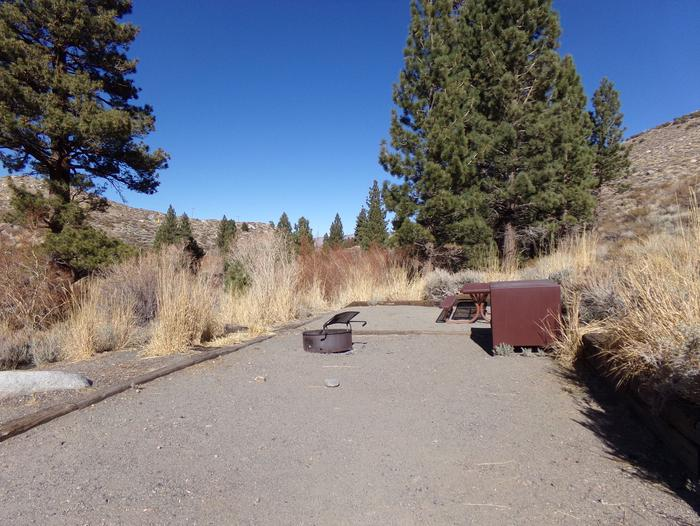 Convict Lake Campground site #59 featuring picnic table, food storage, and fire pit.