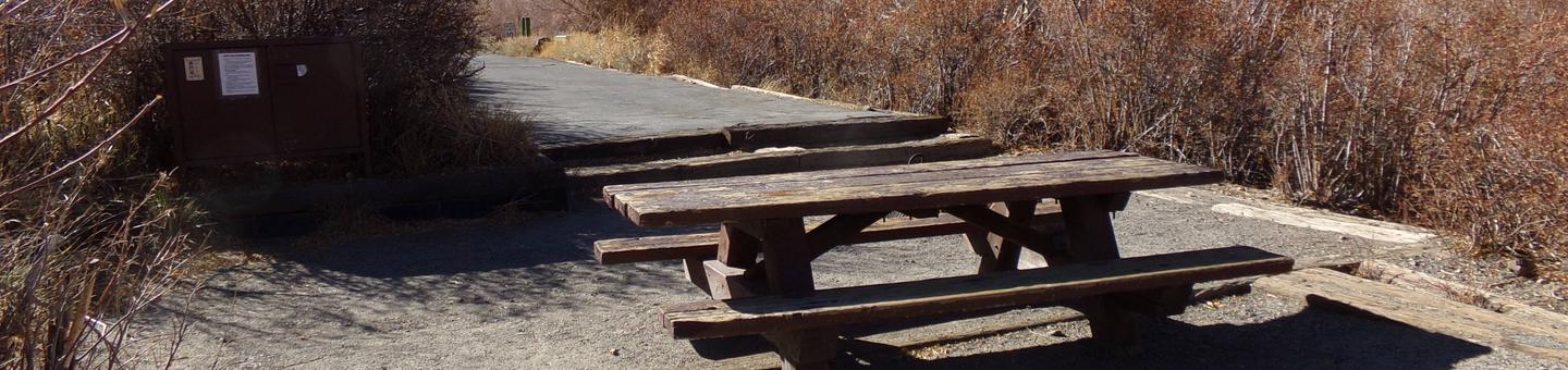 Convict Lake Campground site #61 featuring picnic table, food storage, and fire pit.