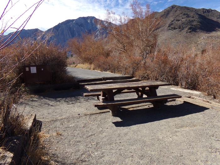Convict Lake Campground site #61 full campsite and mountain views.