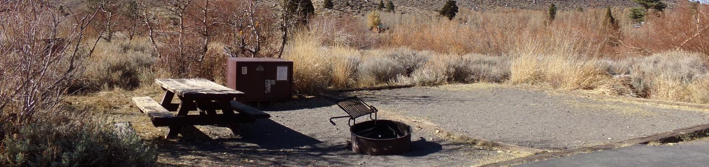 Convict Lake Campground site #62 featuring picnic table, food storage, and fire pit.
