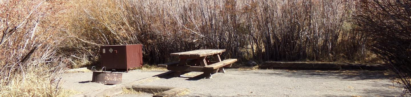 Convict Lake Campground site #63 featuring picnic table, food storage, and fire pit.