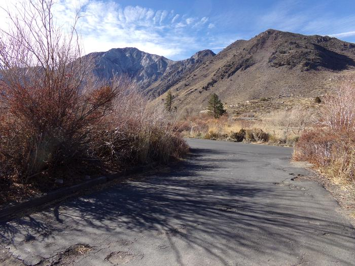 View of campground and mountains from site #65, Convict Lake Campground.