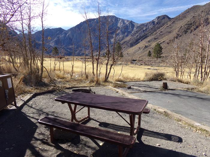 Full view of campsite #69 at Convict Lake Campground that backs to the campground meadow and has panoramic mountain views.