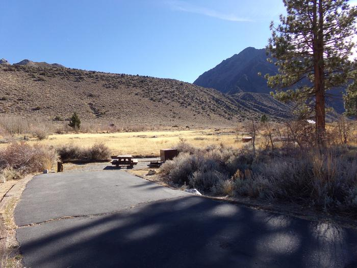 Parking space that backs to a meadow at site #76, Convict Lake Campground.
