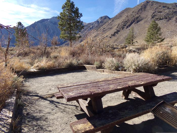 View of camping space and picnic area at site #80 at Convict Lake Campground.