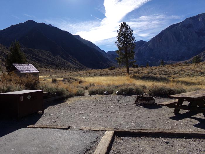 Camping space that backs to meadow at site #81, Convict Lake Campground.