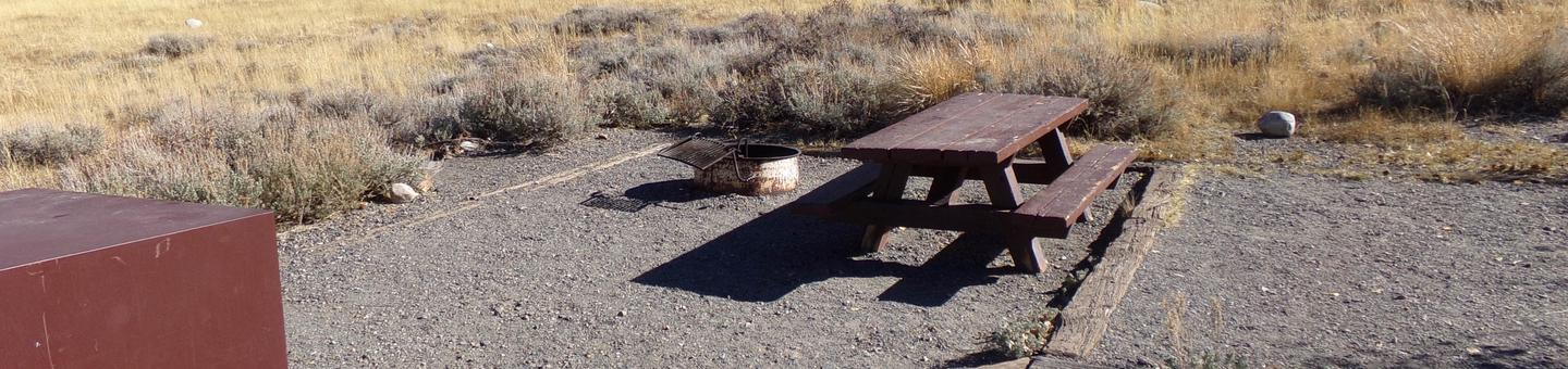 Convict Lake Campground site #82 featuring picnic table, food storage, and fire pit.
