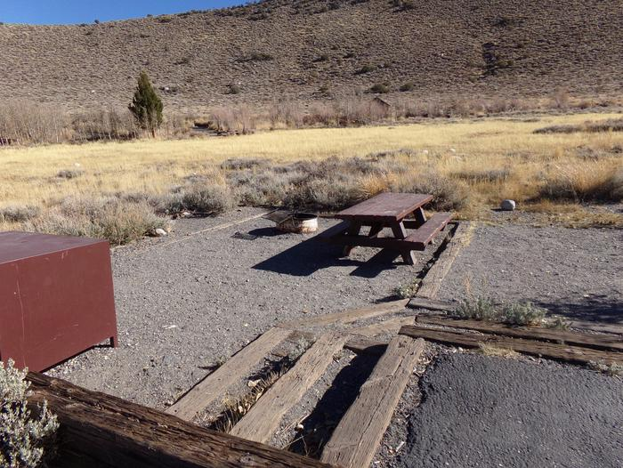 Convict Lake Campground site #82 featuring picnic table, food storage, and fire pit.Convict Lake Campground site #82 featuring picnic table, food storage, and fire pit. Backs to meadow and has panoramic mountain views.