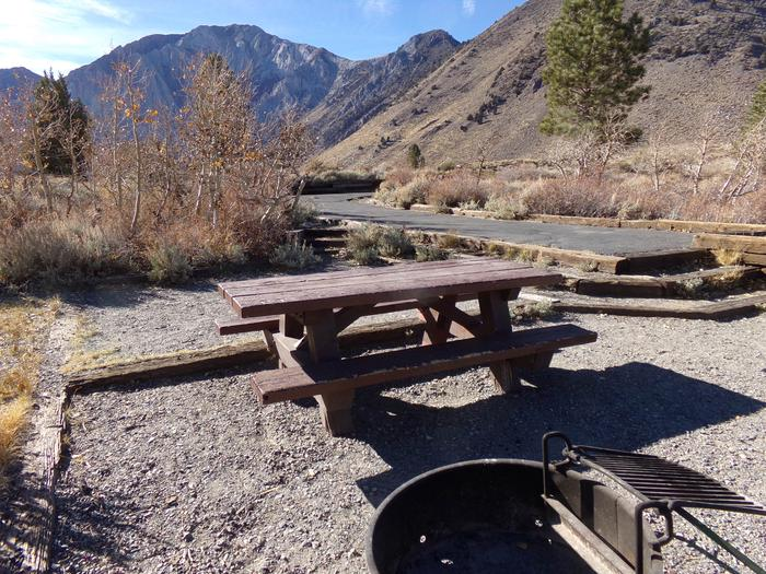 Camp space view at site #82, Convict Lake Campground.