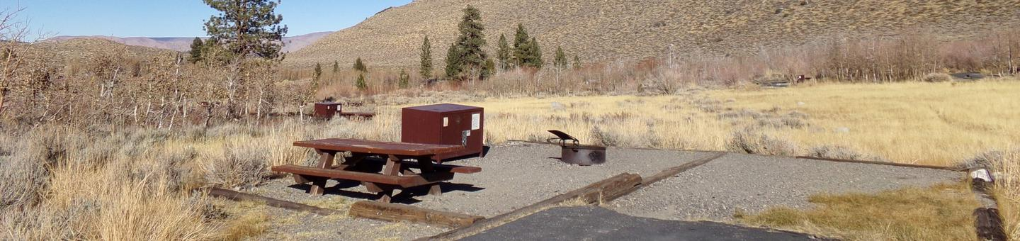 Convict Lake Campground site #83 featuring picnic table, food storage, camping space, and fire pit.