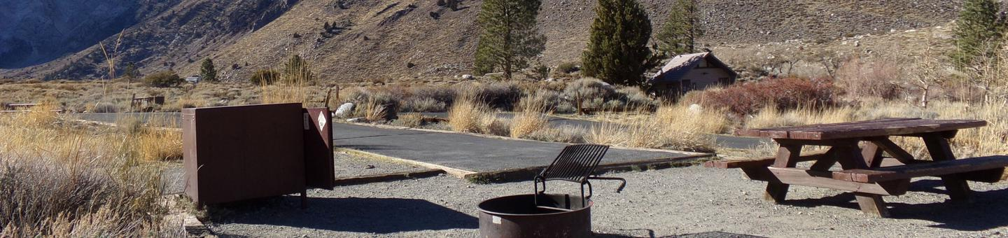 Convict Lake Campground site #84 featuring picnic table, food storage, and fire pit.Convict Lake Campground site #84 featuring picnic table, food storage, and fire pit. Mountain views and close proximity to restrooms.