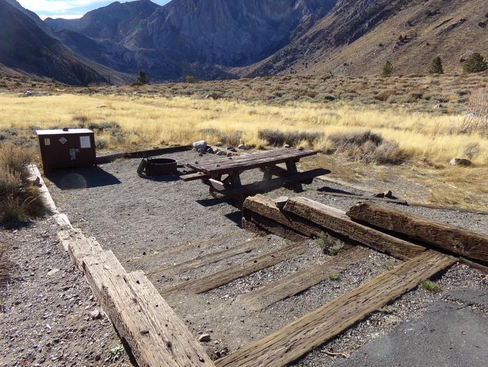 Convict Lake Campground site #87 featuring picnic table, food storage, and fire pit.Convict Lake Campground site #87 featuring picnic table, food storage, and fire pit. Backs to meadow and has mountain views.