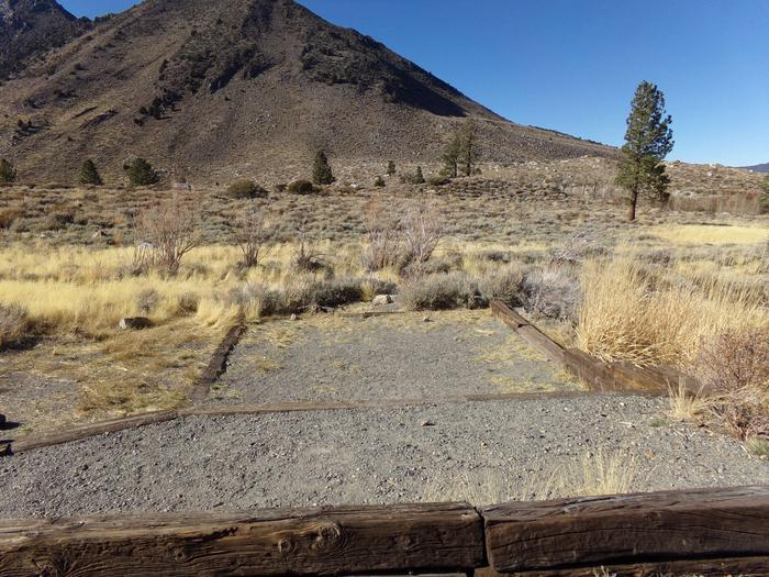 Camping space at site #87, Convict Lake Campground, that has full mountain and meadow views.