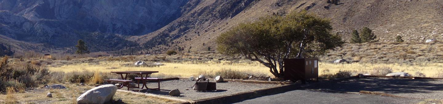 Convict Lake Campground site #88 featuring picnic table, food storage, and fire pit.