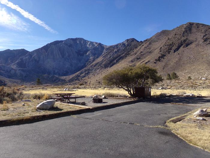 Convict Lake Campground site #88 featuring picnic table, food storage, and fire pit.Convict Lake Campground site #88 featuring picnic table, food storage, and fire pit. Backs to meadow and has panoramic mountain views.