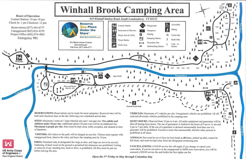 Winhall Brook Campground MapCampground Map