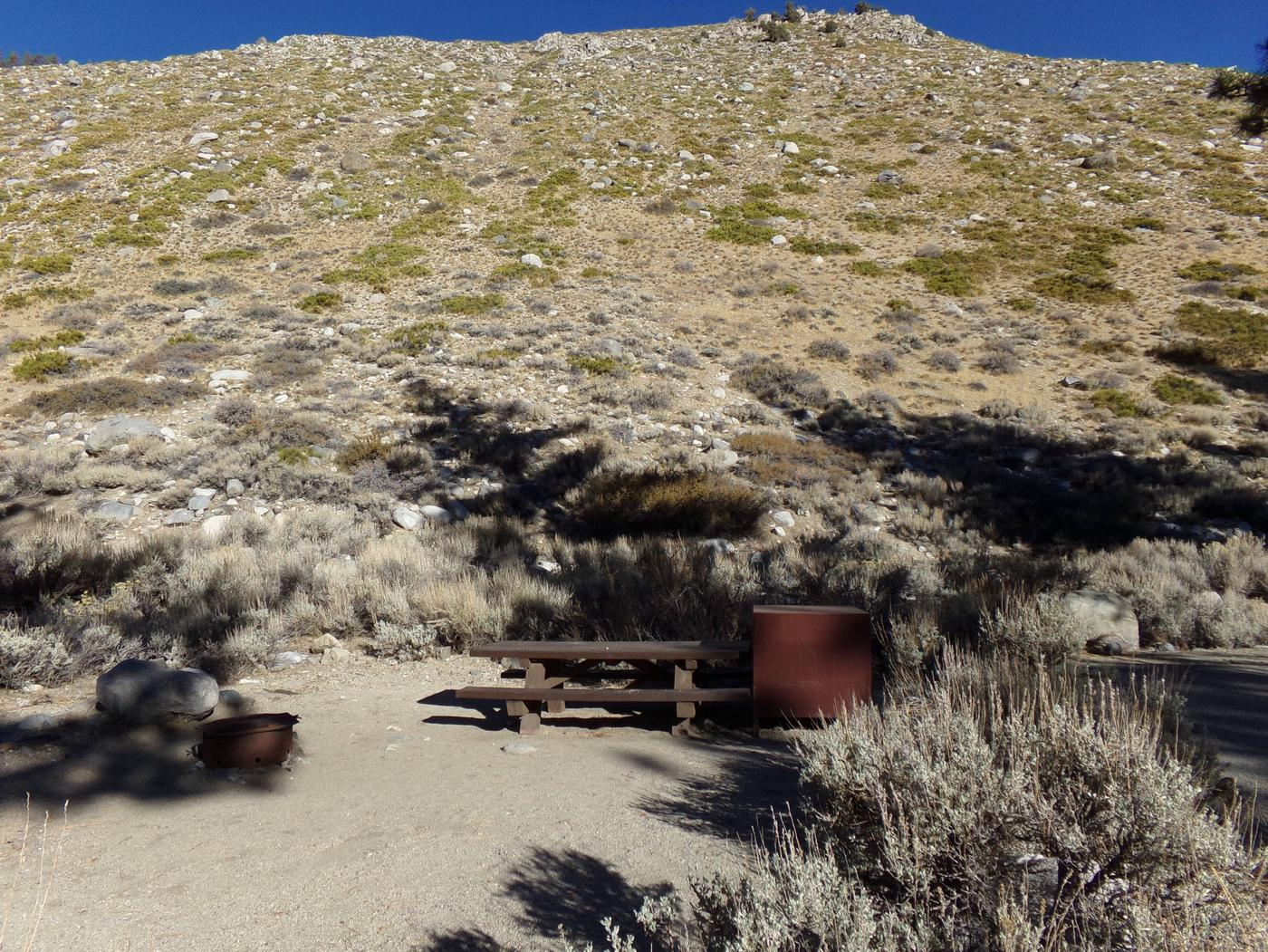 Upper Sage Flat Campground site #13 featuring picnic table, food storage, and fire pit.Upper Sage Flat Campground site #13 featuring picnic table, food storage, and fire pit.