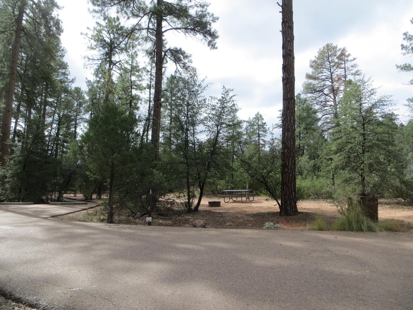 Houston Mesa, Black Bear Loop site #02 featuring parking, entrance to the wooded site, and picnic tableHouston Mesa, Black Bear Loop site #02 featuring parking, entrance to the wooded site, and picnic table