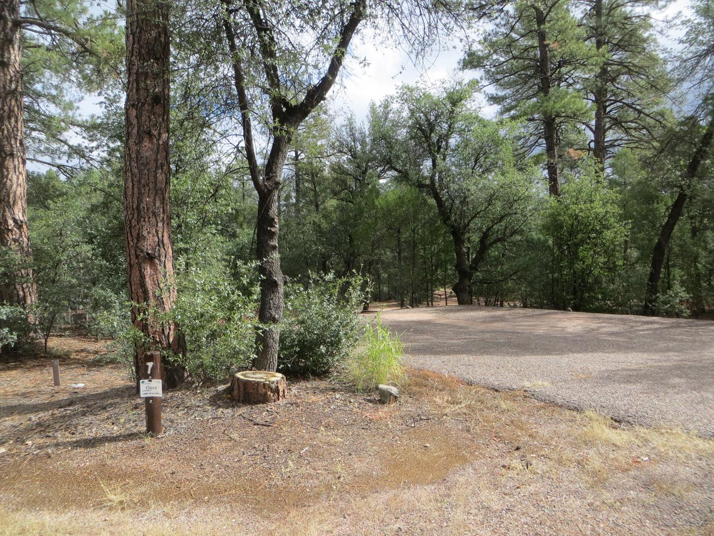 Parking space and entrance to site #07, Elk Loop at Houston Mesa.