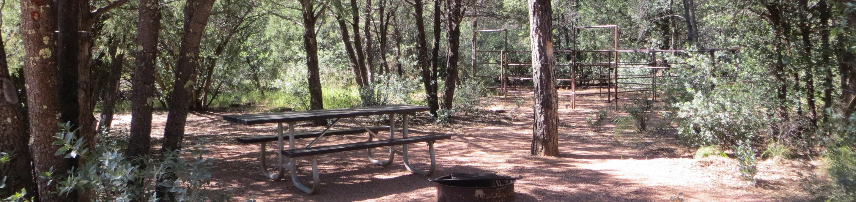 Houston Mesa, Horse Camp site #07 featuring picnic area with table, fire pit, and horse corral.