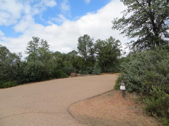 Parking space and entrance to site #13, Mountain Lion Loop, Houston Mesa.