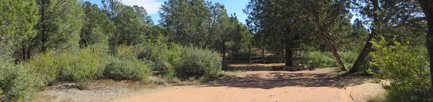Houston Mesa, Horse Camp site #13 featuring entrance, parking, picnic area, and horse corral.