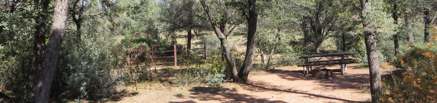 Houston Mesa, Horse Camp site #14 featuring camping space, picnic area, and horse corral.