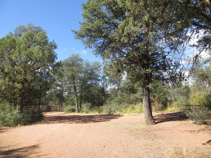 Houston Mesa, Horse Camp site #16 featuring entrance and parking, picnic area and horse corral.