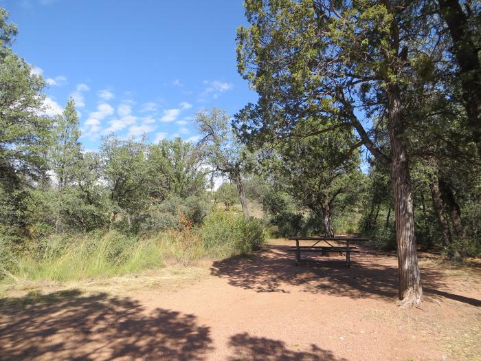 Houston Mesa, Horse Camp site #16 featuring shaded picnic area and camping space.