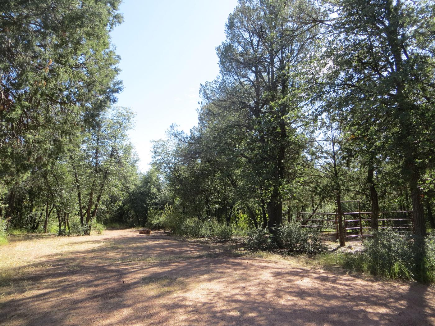 Houston Mesa, Horse Camp site #17 featuring entrance and parking, fire pit and horse corral.
