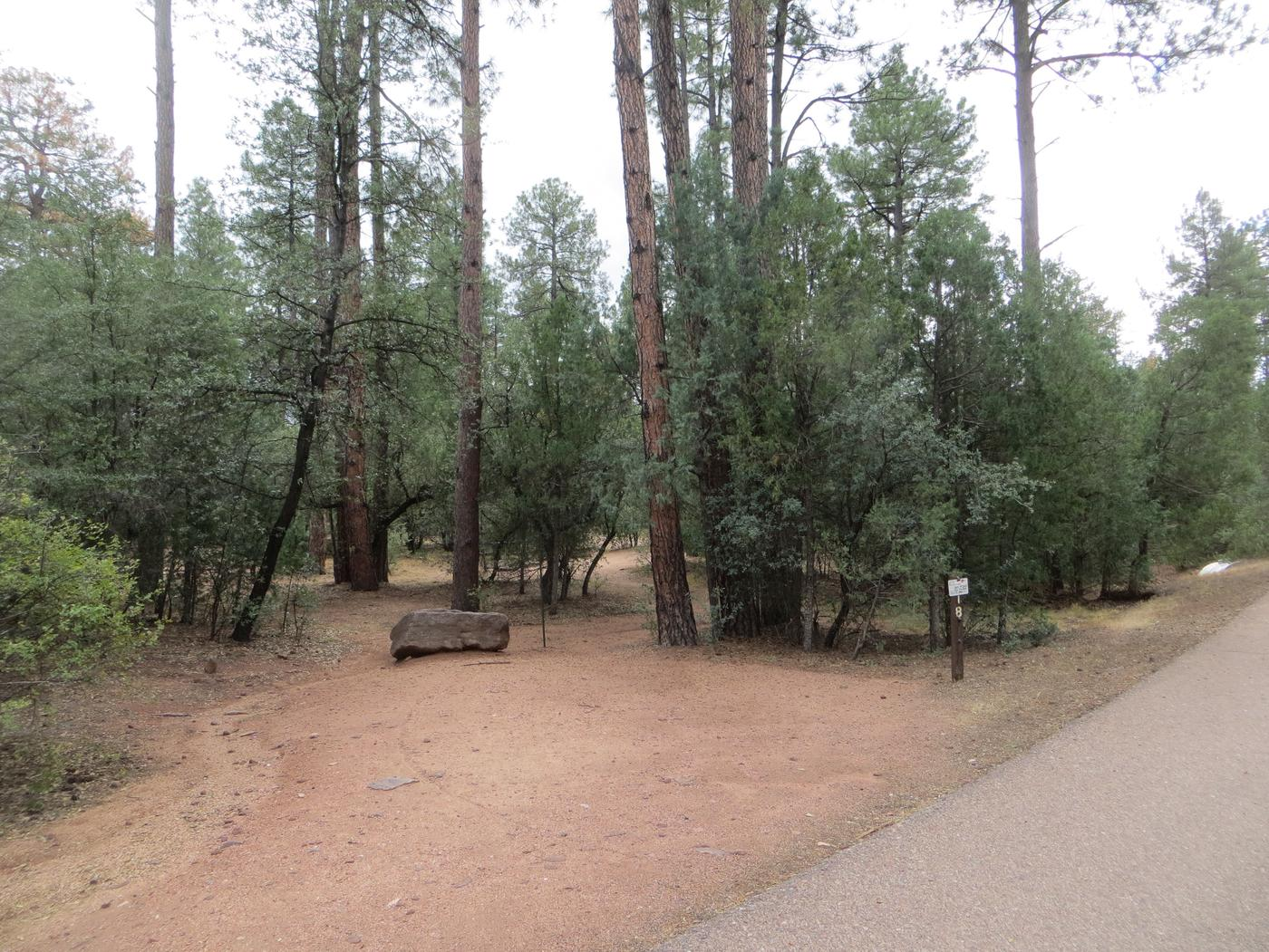 Houston Mesa, Black Bear Loop site #18 featuring parking, entrance to the wooded site, and picnic table.