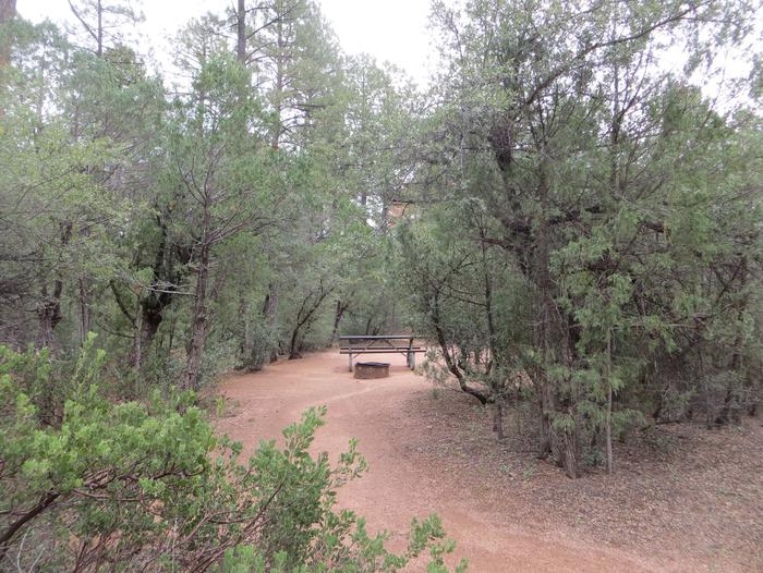 Houston Mesa, Black Bear Loop site #19 featuring entrance to the wooded site, fire pit, and picnic table.