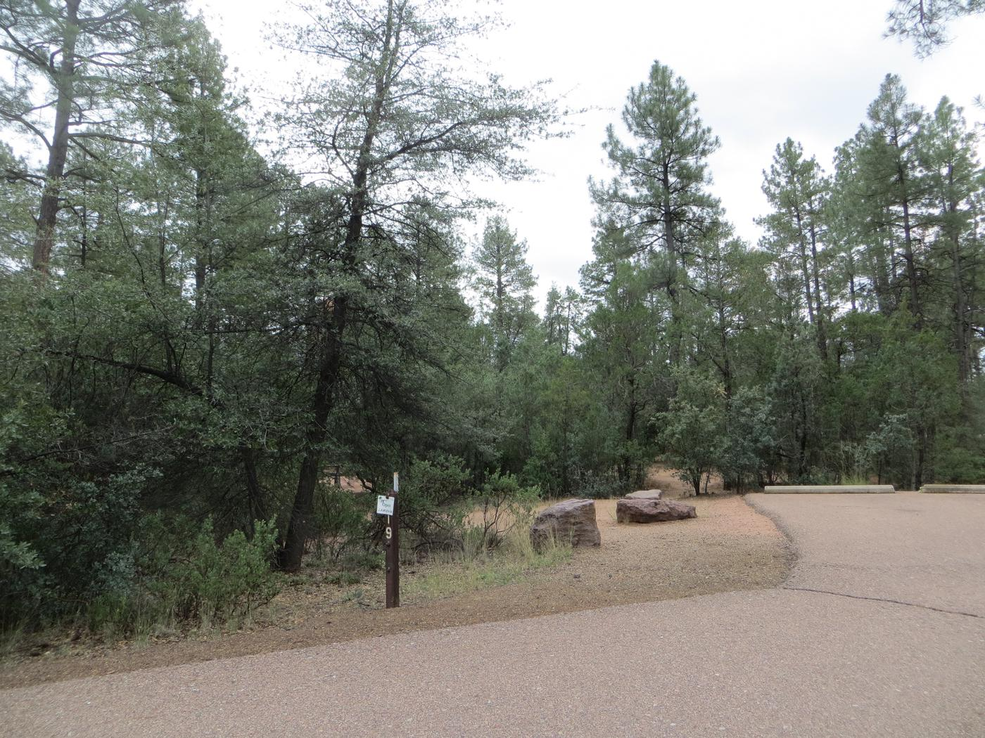 Parking space and entrance to site #19, Black Bear Loop at Houston Mesa.
